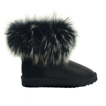 Женские угги Ugg Fox Fur Ultra Metallic Black