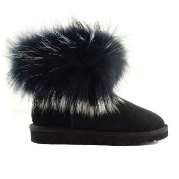 Женские угги Ugg Fox Fur Ultra Black