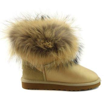 Женские угги Ugg Fox Fur Soft Gold Metallic