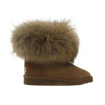 Женские угги Ugg Fox Fur Chestnut
